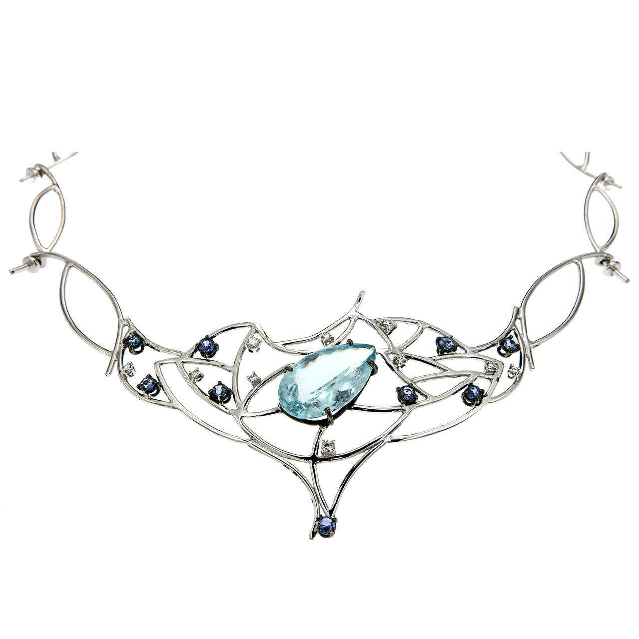 Blue Aquamarine Sapphires Diamonds White Gold Choker Necklace Modern