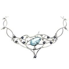 Blue Aquamarine Sapphires Diamonds White Gold Choker Necklace Made In Italy