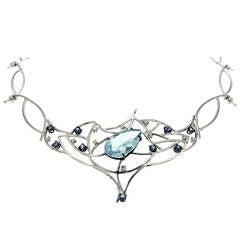 Blue Aquamarine Sapphires Diamonds White Gold Choker Necklace Modern