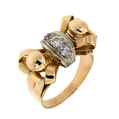 Diamonds Gold Bow Ring 1940s Vintage