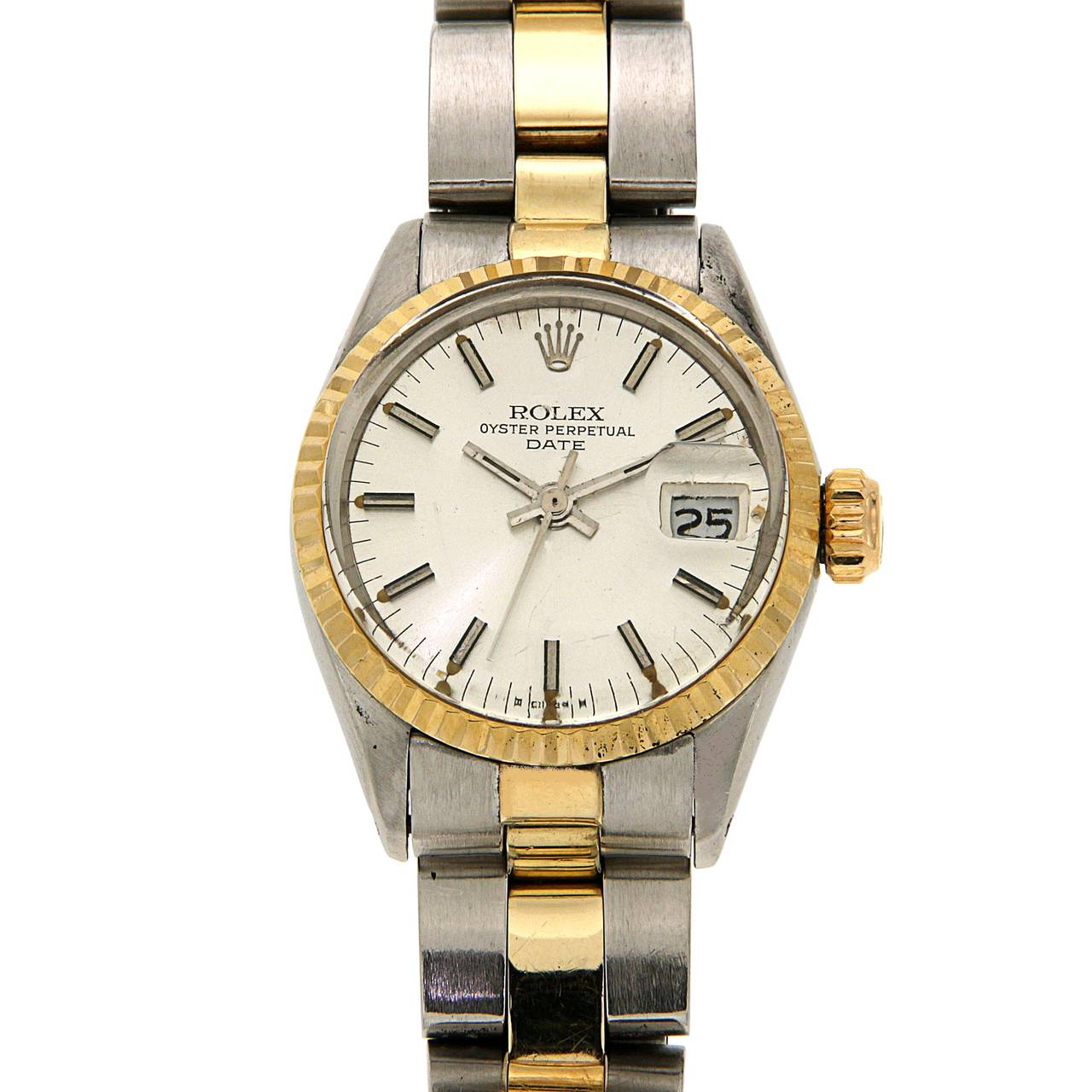Rolex Lady's Yellow Gold Stainless Steel Date Automatic Wristwatch Ref 6517 For Sale