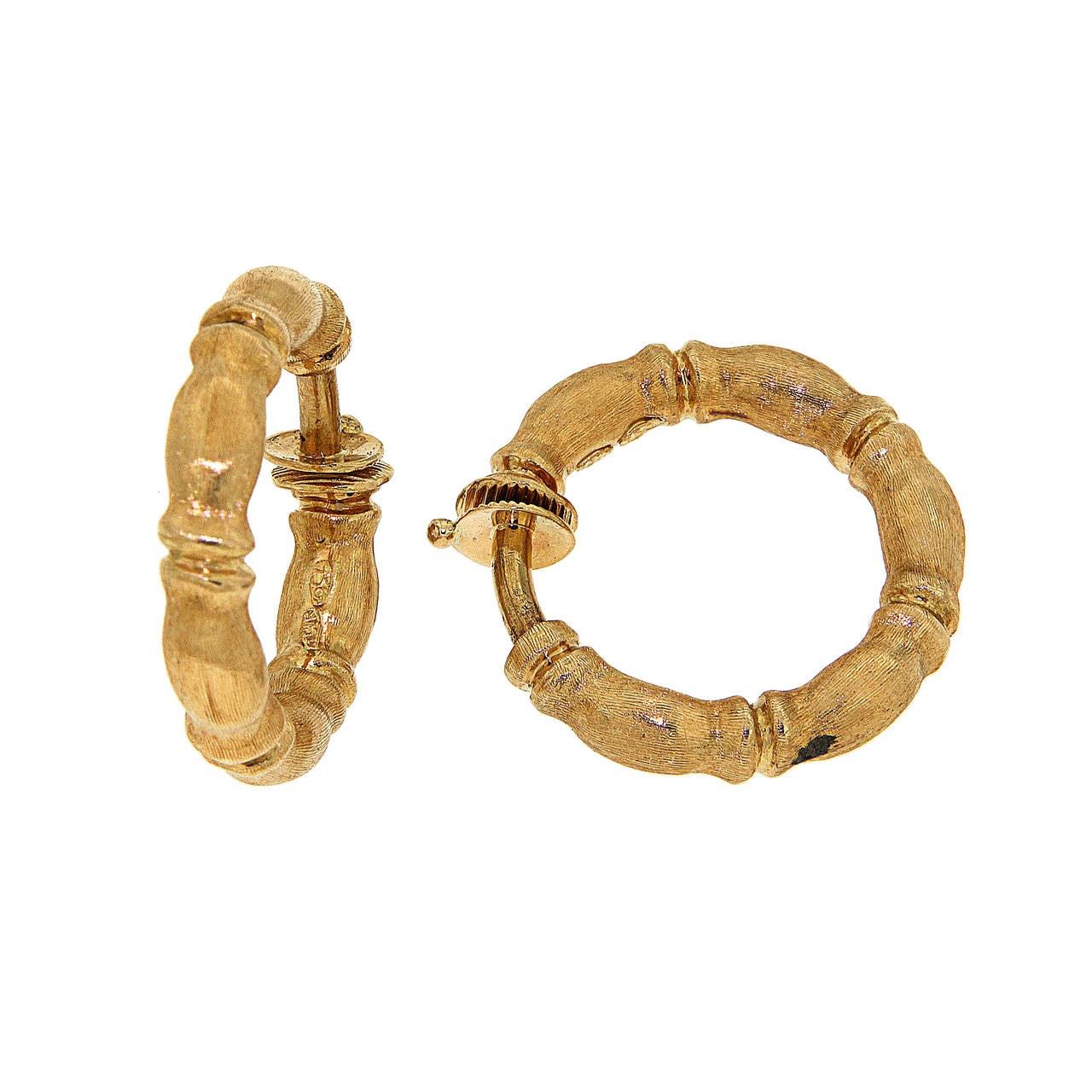 Rose Gold Bracelet Earrings Set, Bamboo, 1970s 3