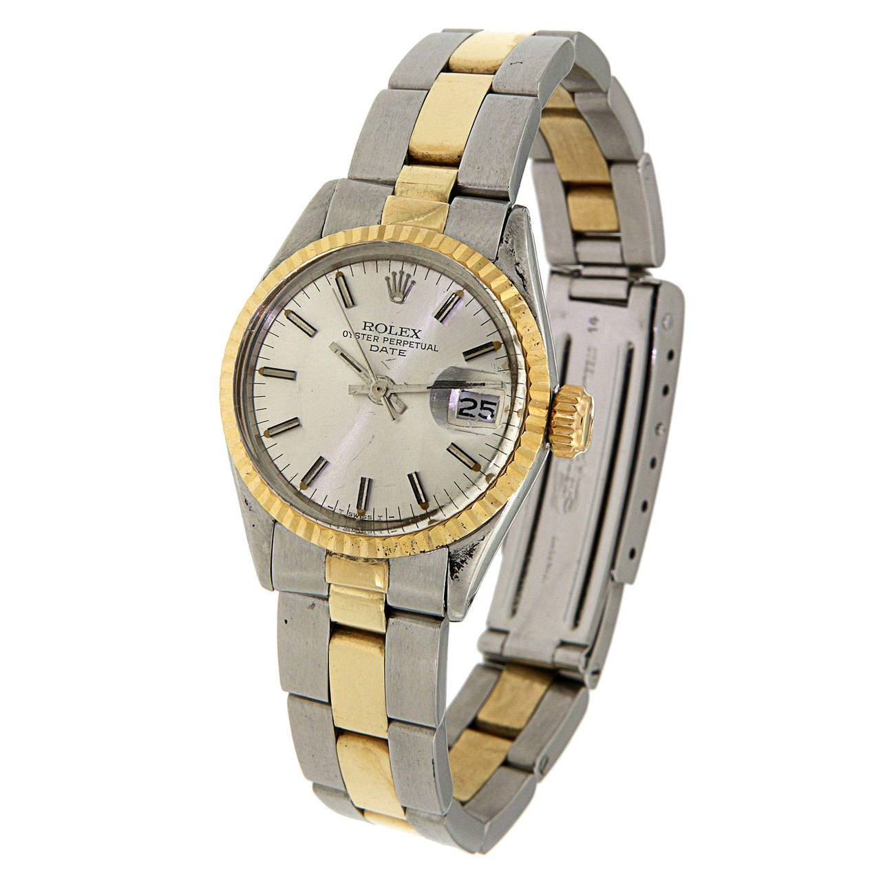 Automatic movement, Quickset date, plastic crystal. Stainless steel case with 18  carat yellow gold, fluted bezel, 26mm diameter. White dial with gold baton markers. Stainless steel and 18 carat yellow gold Oyster bracelet. REF.6517