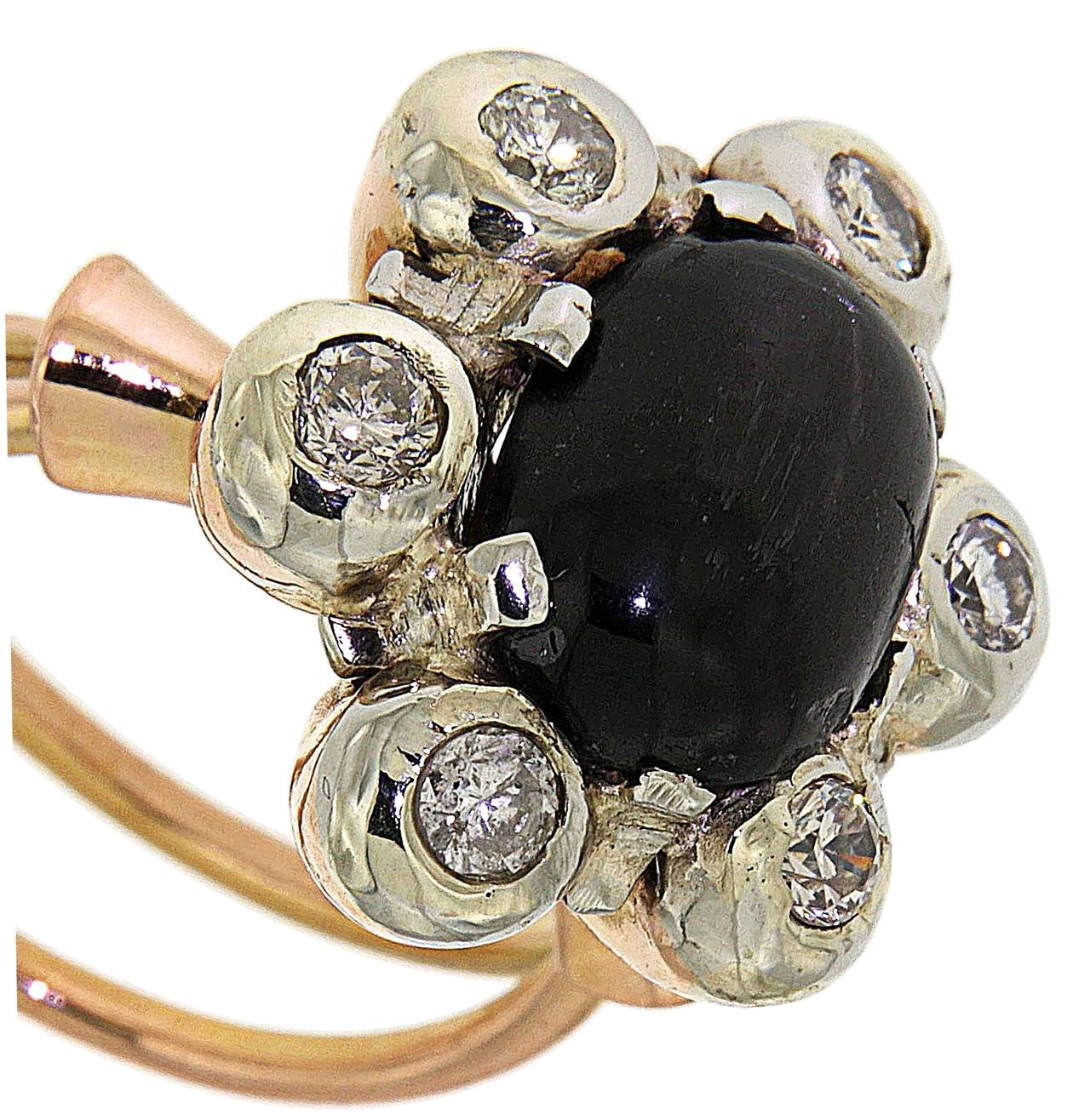 Antique 1950s Blue Cabochon Sapphire Diamond Gold Floral Cluster Ring For Sale 3