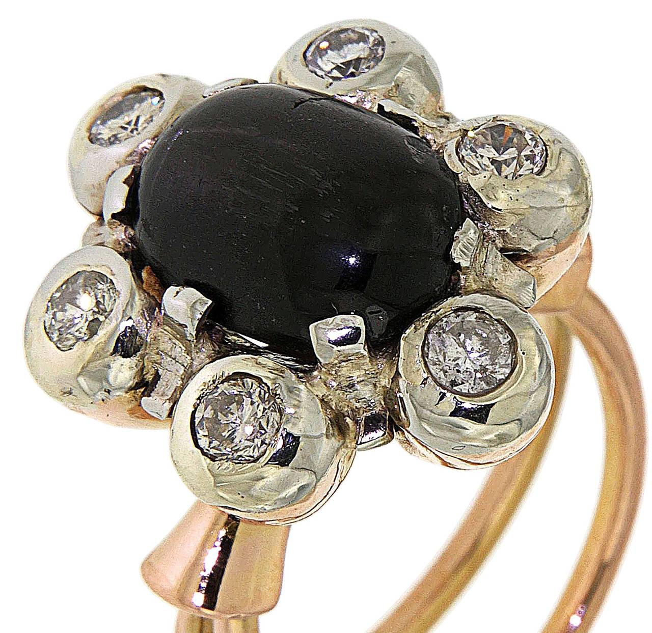 Antique 1950s Blue Cabochon Sapphire Diamond Gold Floral Cluster Ring For Sale 2
