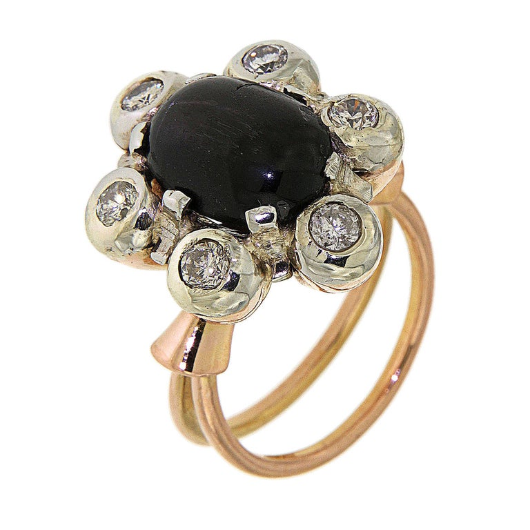 Antique 1950s Blue Cabochon Sapphire Diamond Gold Floral Cluster Ring For Sale