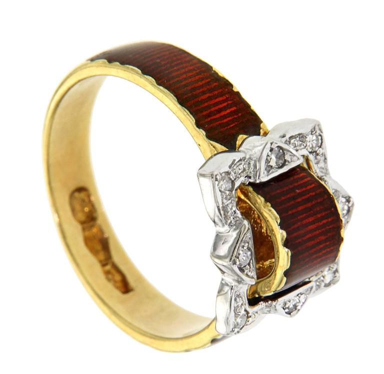 Antique Red Enamel Diamonds Yellow Gold Buckle Ring For Sale 3