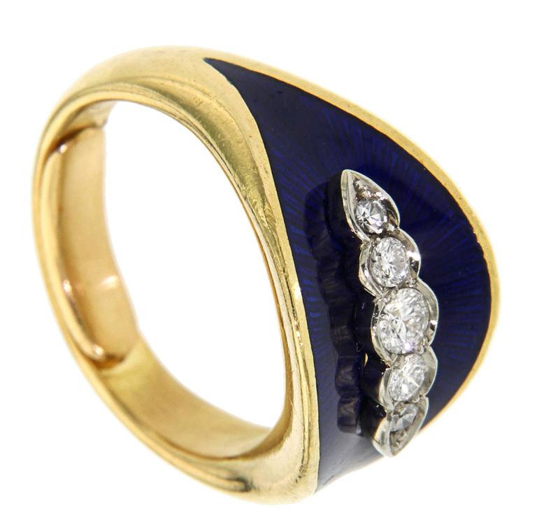 18k Yellow Gold Blue Enamel and five diamonds circa 0.25 ctw  For little finger, size 4 1/2