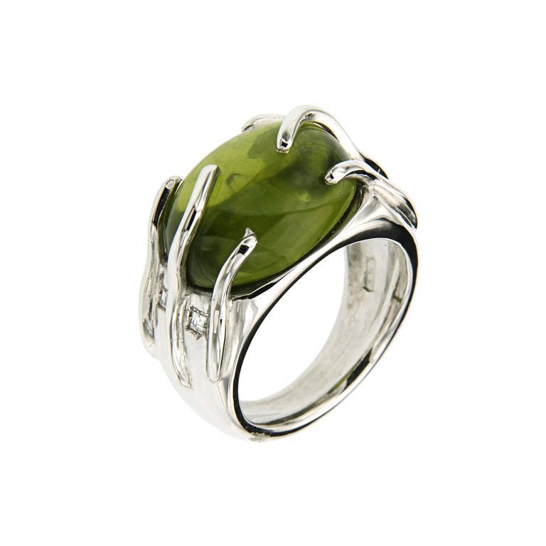 Modern Green Peridot Diamonds White Gold Cocktail Ring