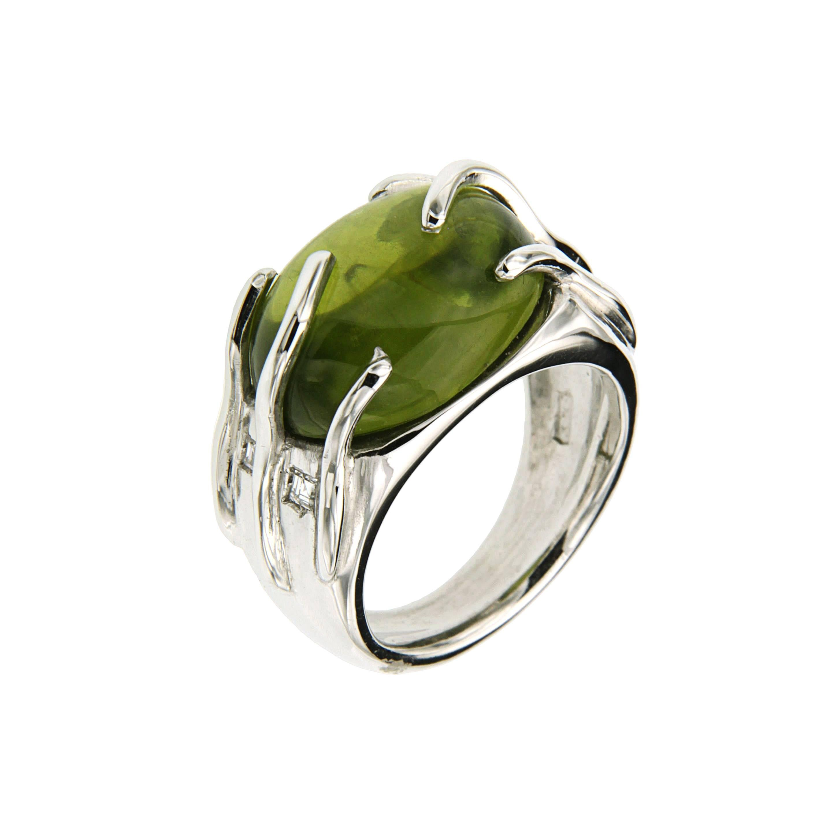 Green Peridot Diamonds White Gold Cocktail Ring Handcrafted in Italy