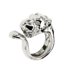 Diamonds 18 Kt White Gold Cheetah Ring Handcrafted in Italy by Botta Gioielli