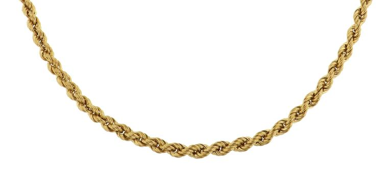 1960s 18 Kt Gold Twisted Wire Necklace Handcrafted in Italy  1