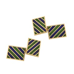 Blue and Green Enamel Gold Cufflinks, 1960s