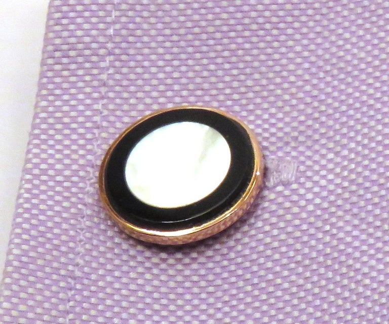 Cabochon 9 Karat Rose Gold Onyx Mother Pearl Cufflinks Handcraft in Italy