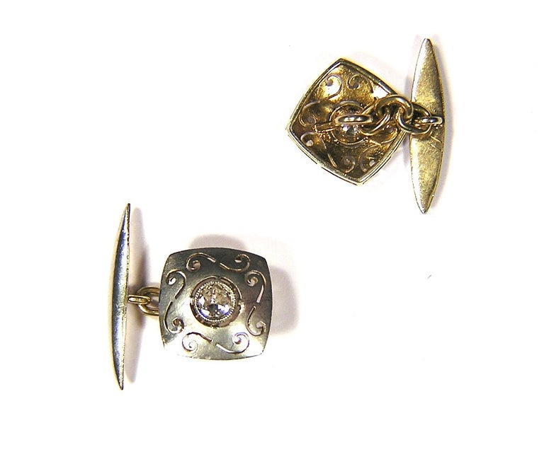 Round Cut Antique Diamonds Silver Yellow Gold Carved Cufflinks For Sale