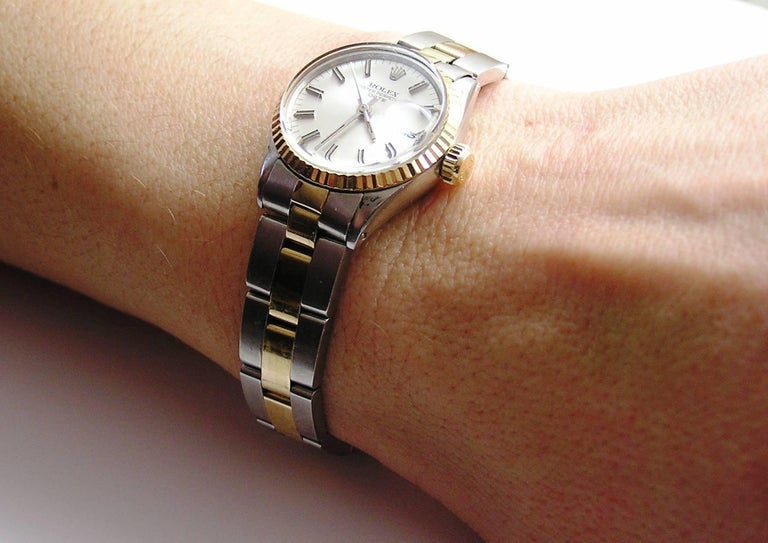 Women's Rolex Lady's Yellow Gold Stainless Steel Date Automatic Wristwatch Ref 6517 For Sale