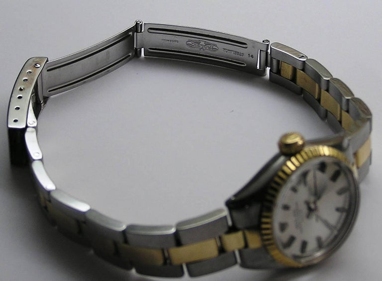 Rolex Lady's Yellow Gold Stainless Steel Date Automatic Wristwatch Ref 6517 7