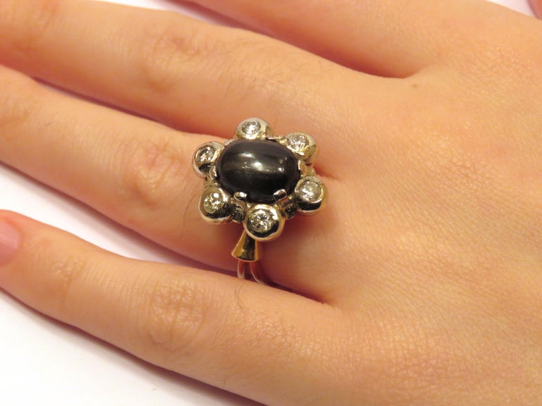 Women's Antique 1950s Blue Cabochon Sapphire Diamond Gold Floral Cluster Ring For Sale