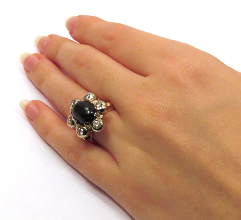 Antique 1950s Blue Cabochon Sapphire Diamond Gold Floral Cluster Ring For Sale 1