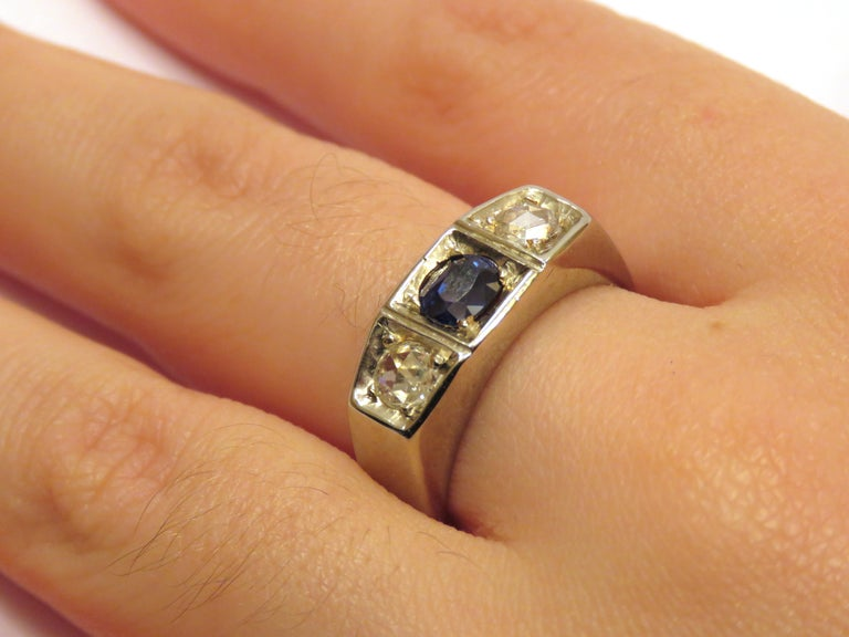 Rose Cut 1930s Blue Sapphire Diamonds White Gold Band Ring Vintage For Sale