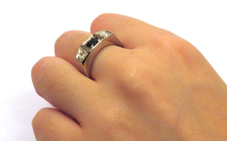 Men's 1930s Blue Sapphire Diamonds White Gold Band Ring Vintage For Sale