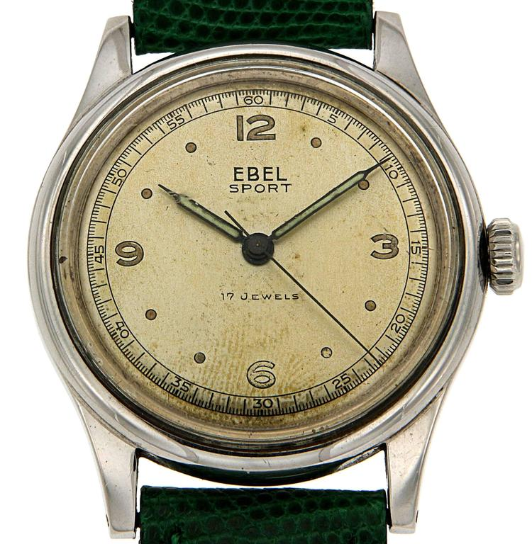 Ebel Stainless Steel  Wristwatch Circa 1950s, diameter 34 mm. The last servicing was made about 6 years ago, if the customer asks for a new servicing before shipping, it will cost Euro 150.00 in addition to the list price. Ready for delivery. It can