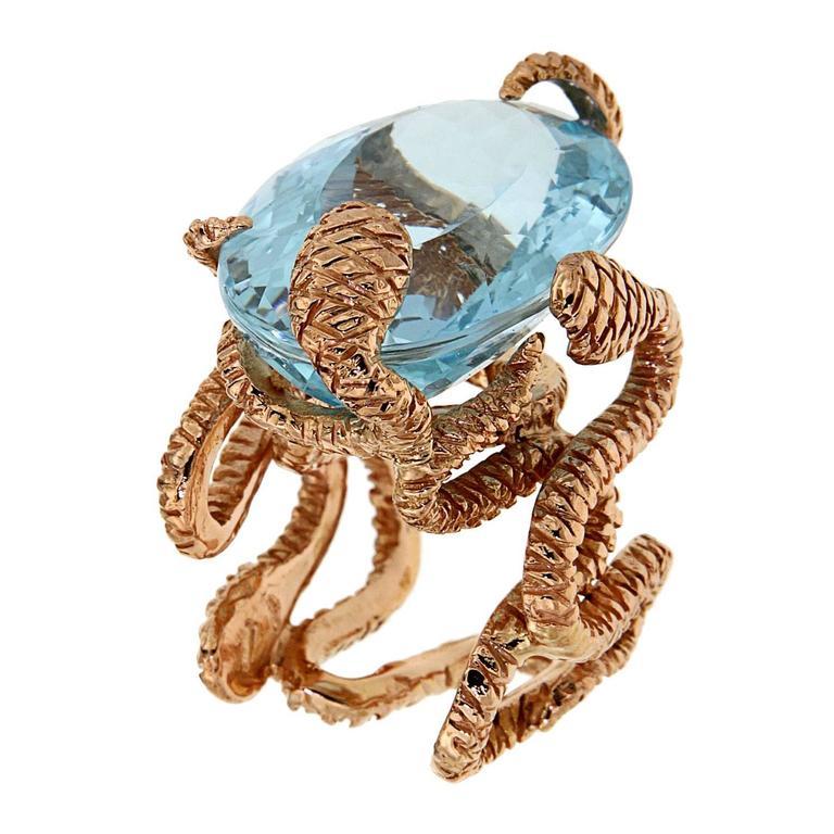 Rose Gold Blue Topaz Cocktail Statement Ring Modern For Sale