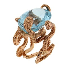 Rose Gold Blue Topaz Cocktail Statement Ring Handcrafted in Italy Botta Gioielli