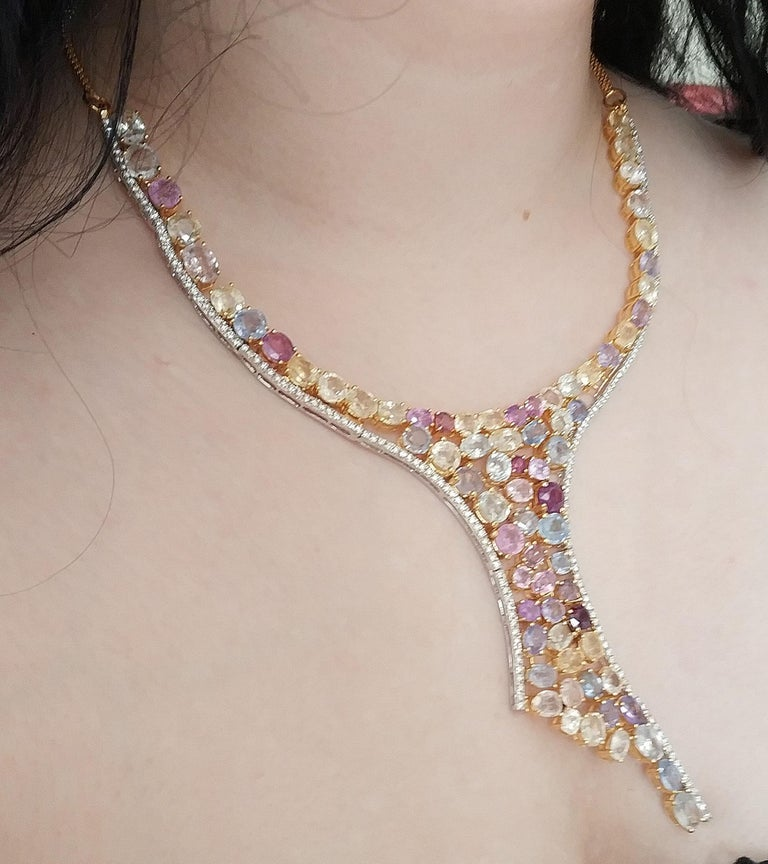 Anglo-Indian 113 Carat Multicolored Sapphire and Diamond Necklace in Hourglass Design For Sale