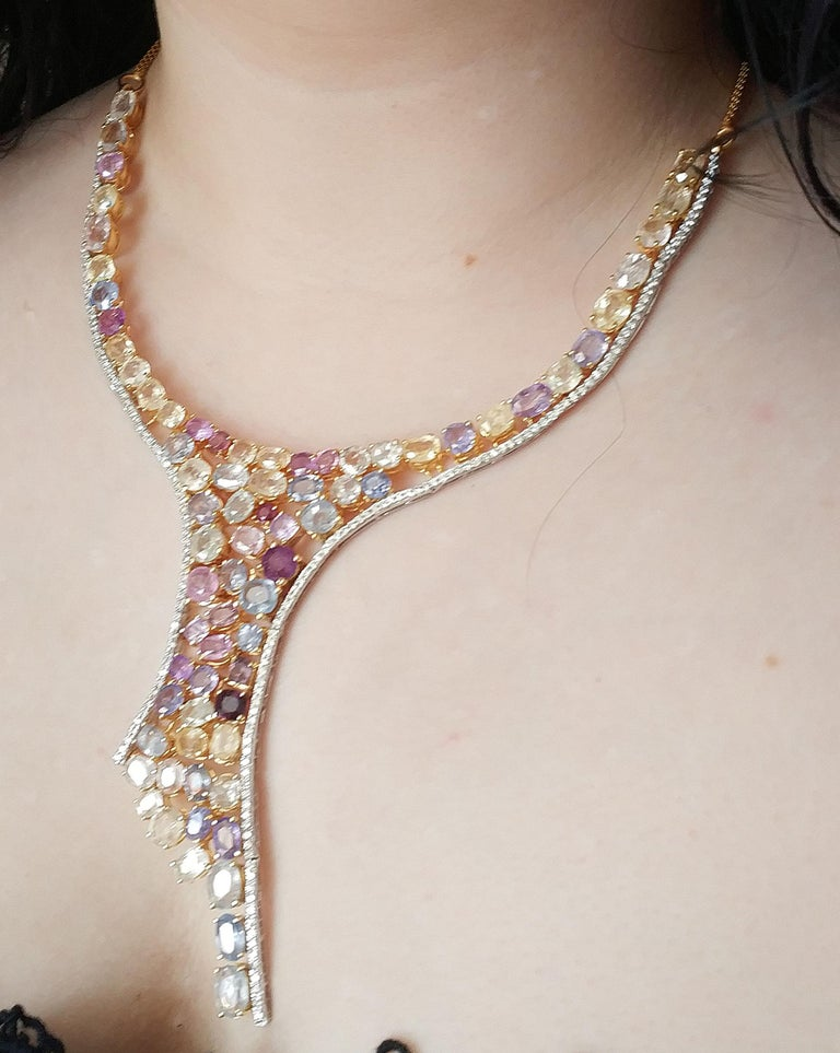 Old Mine Cut 113 Carat Multicolored Sapphire and Diamond Necklace in Hourglass Design For Sale