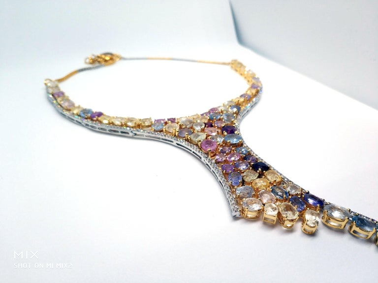 113 Carat Multicolored Sapphire and Diamond Necklace in Hourglass Design For Sale 2