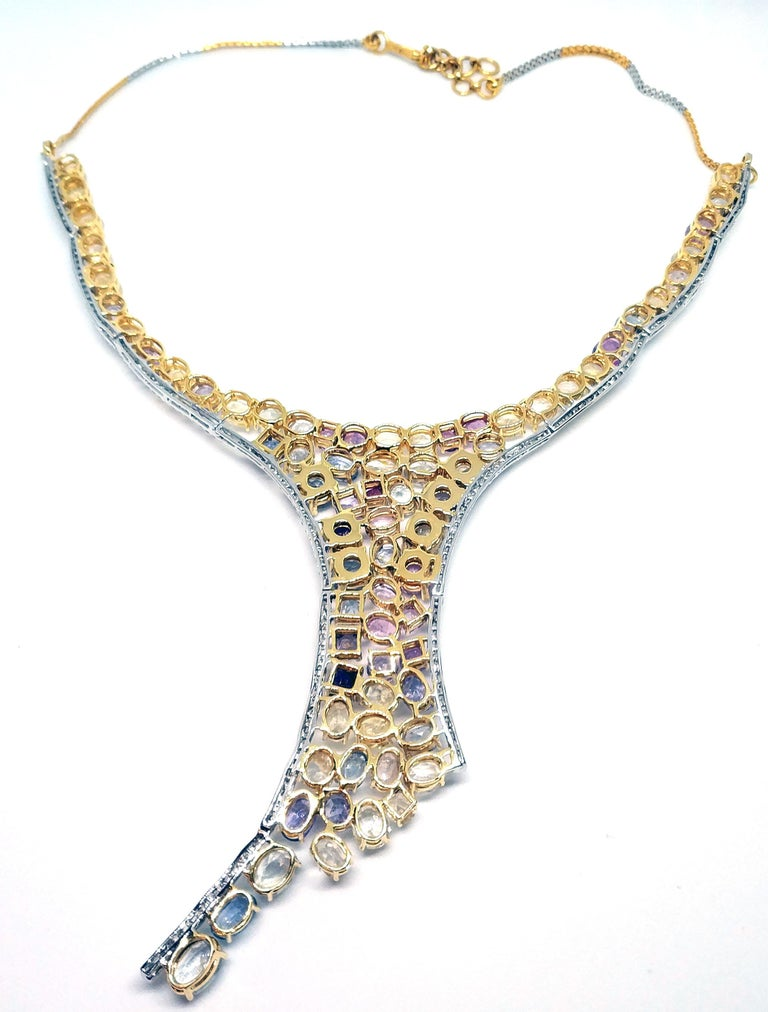 113 Carat Multicolored Sapphire and Diamond Necklace in Hourglass Design For Sale 3