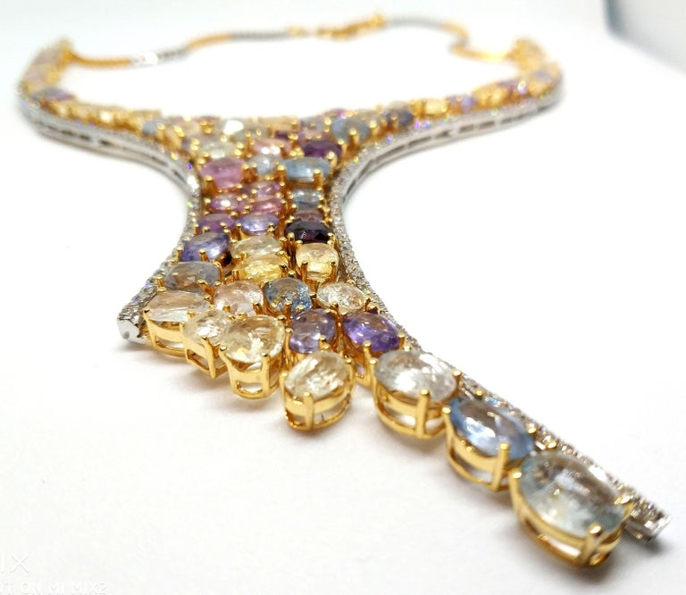 113 Carat Multicolored Sapphire and Diamond Necklace in Hourglass Design For Sale 4