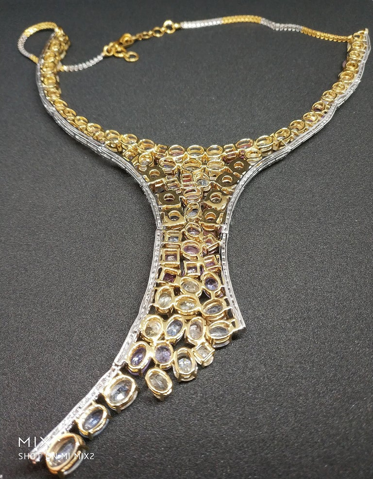113 Carat Multicolored Sapphire and Diamond Necklace in Hourglass Design For Sale 6