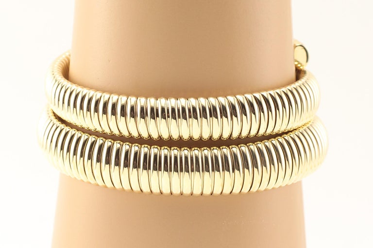 Modern Coiled Snake 14 Karat Yellow Gold Bracelet with Diamonds For Sale
