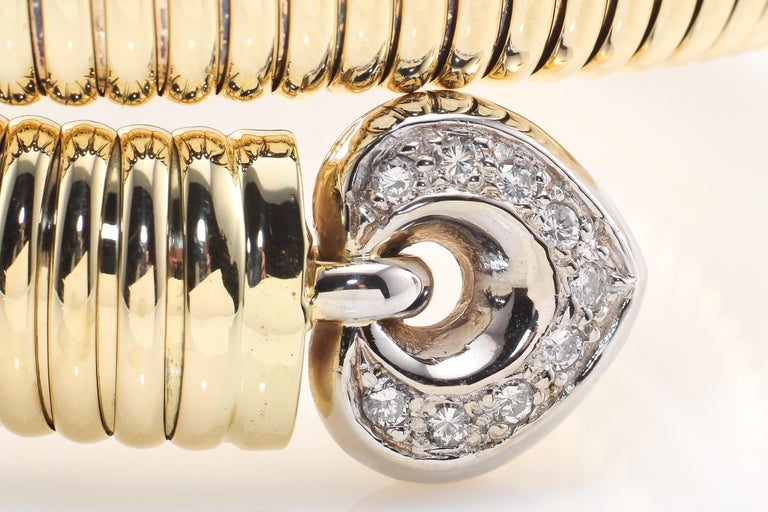 Round Cut Coiled Snake 14 Karat Yellow Gold Bracelet with Diamonds For Sale