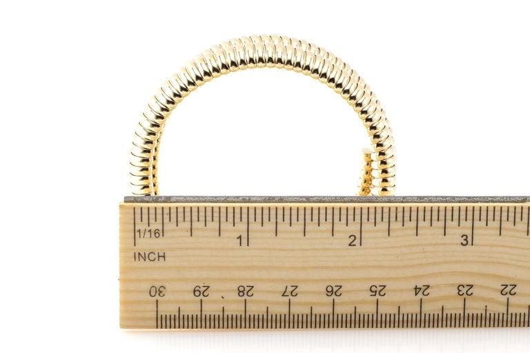Women's or Men's Coiled Snake 14 Karat Yellow Gold Bracelet with Diamonds For Sale
