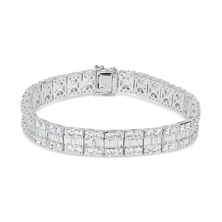 14.51 Carat Natural Baguette Diamond Bracelet