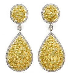 14.39 Carat Natural Yellow Diamond Cluster Earrings