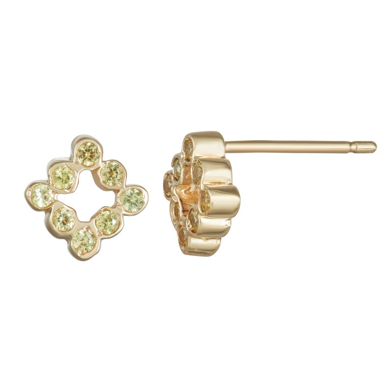 14 Karat Yellow Gold With Shire Stud Earrings For