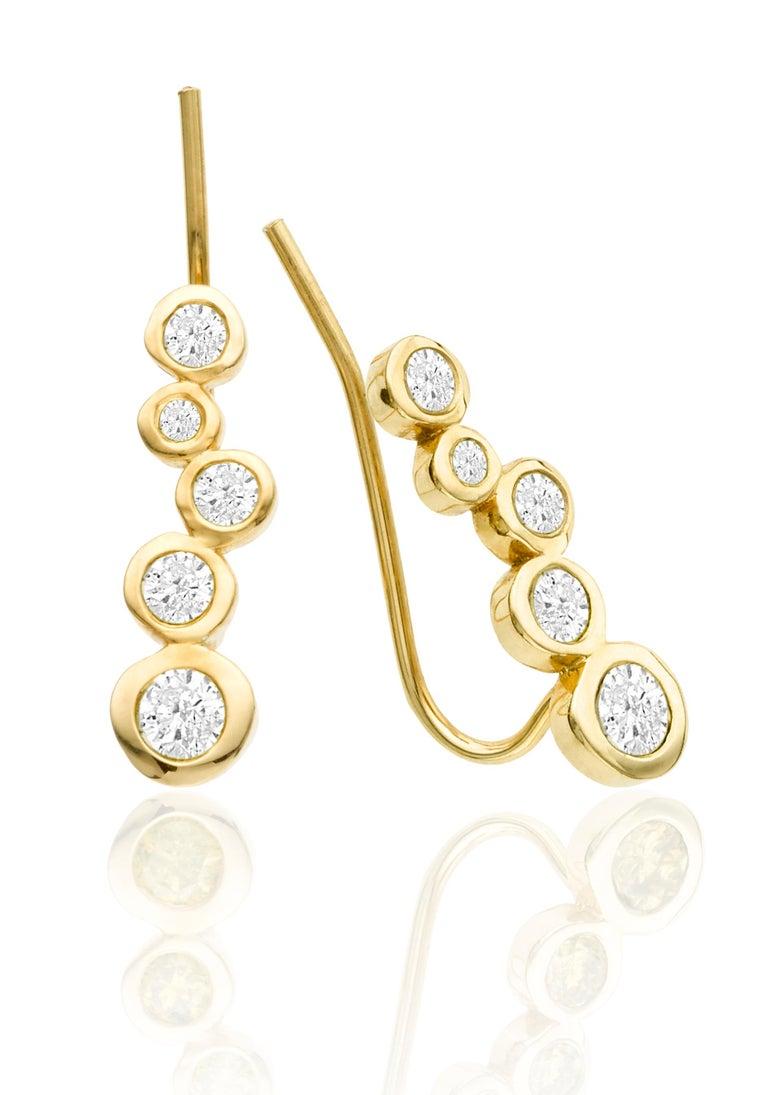 Round Cut White Diamond 0.46 Carat 14 Karat Yellow Gold Earring Climber For Sale
