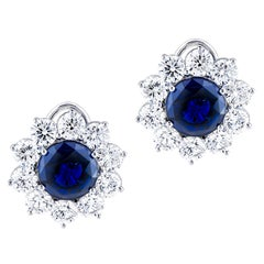 10.01 Carat Blue Sapphire Stud Earrings with 8.3 Carat Total Weight Diamonds