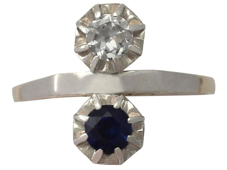 1950s Sapphire Diamond & Yellow Gold Cocktail Ring