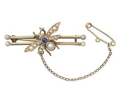 Sapphire & Diamond, Pearl & 15k Yellow Gold 'Insect' Brooch - Antique Victorian