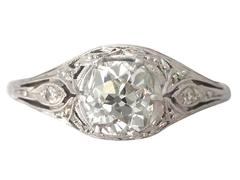 1.01 Ct Diamond and Platinum Solitaire Ring - Vintage Circa 1940