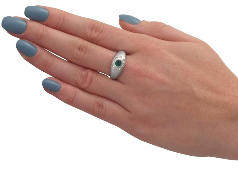 Emerald and Diamond Platinum Cocktail Ring For Sale 2