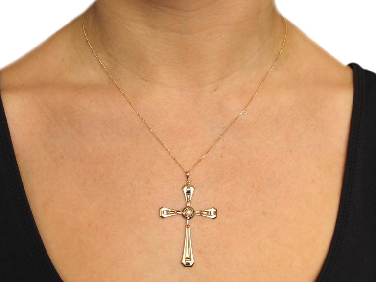 1940s Seed Pearl and 18k Yellow Gold Cross Pendant  8