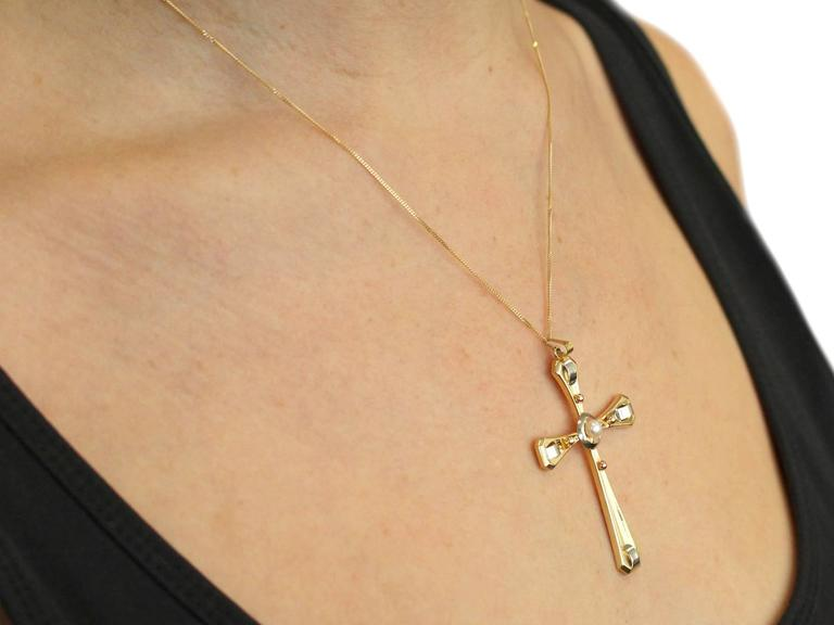 1940s Seed Pearl and 18k Yellow Gold Cross Pendant  9