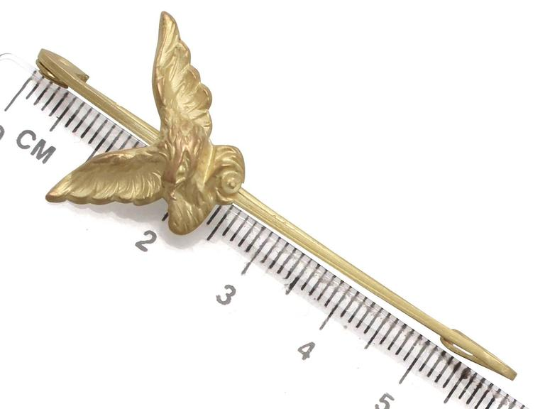 Antique French 1890s 18k Yellow Gold 'Eagle' Pin Brooch 5