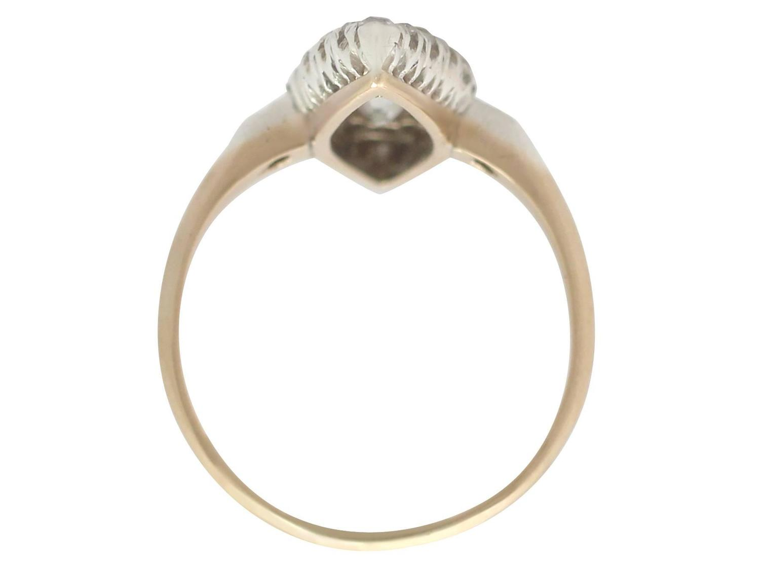 1900s 1 57 carat and 14k yellow gold marquise ring